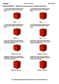 Worksheet for 5.MD.5A-1.1 - Measure volumes by counting unit cubes, using cubic