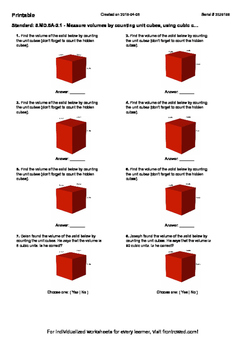 Worksheet for 5.MD.5A-2.1 - Measure volumes by counting unit cubes, using cubic