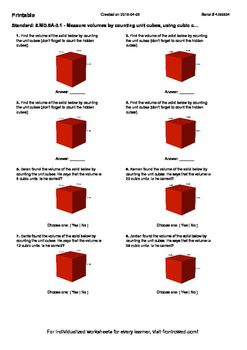 Worksheet for 5.MD.5A-3.1 - Measure volumes by counting unit cubes, using cubic