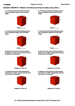 Worksheet for 5.MD.5A-4.1 - Measure volumes by counting unit cubes, using cubic