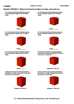 Worksheet for 5.MD.5B-2.1 - Measure volumes by counting unit cubes, using cubic