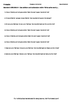 Worksheet for 5.MD.5B-2.4 - Use addition and subtraction within 100 to solve wor