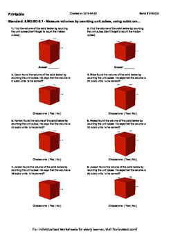Worksheet for 5.MD.5C-2.1 - Measure volumes by counting unit cubes, using cubic