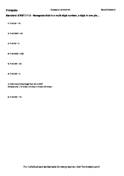 Worksheet for 5.NBT.1-1.0 - Recognize that in a multi-digit number, a digit in o