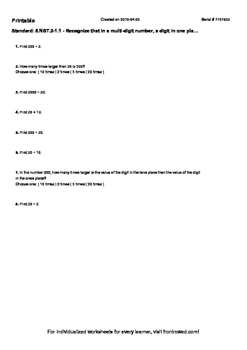 Worksheet for 5.NBT.2-1.1 - Recognize that in a multi-digit number, a digit in