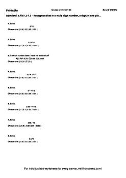 Worksheet for 5.NBT.2-1.2 - Recognize that in a multi-digi