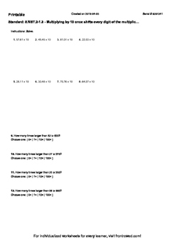 Worksheet for 5.NBT.2-1.3 - Multiplying by 10 once shifts