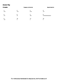 Worksheet for 5.NBT.2-2.0 - Explain patterns in the placement of the decimal po