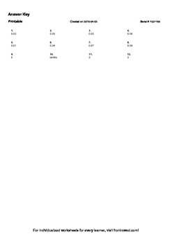 Worksheet for 5.NBT.2-2.2 - Understand tenths as 0.1, and 1 10 of ones and 10x h
