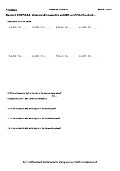 Worksheet for 5.NBT.2-2.4 - Understand thousandths as 0.001, and 1 10 of hundre