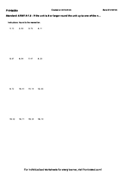 Worksheet for 5.NBT.4-1.2 - If the unit is 5 or larger round the unit up to one