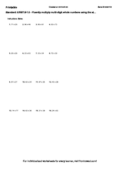 Worksheet for 5.NBT.5-1.0 - Fluently multiply multi-digit whole numbers using th