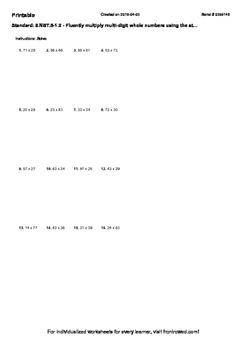 Worksheet for 5.NBT.5-1.0 - Fluently multiply multi-digit