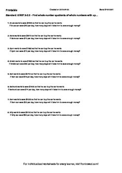 Worksheet for 5.NBT.6-2.0 - Find whole-number quotients of