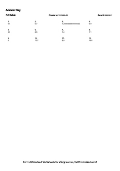 Worksheet for 5.NBT.7-1.3 - Add two numbers each with a number in the tenths pla