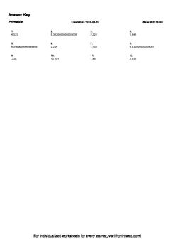 Worksheet for 5.NBT.7-2.5 - Subtract two numbers each with numbers in the tenths