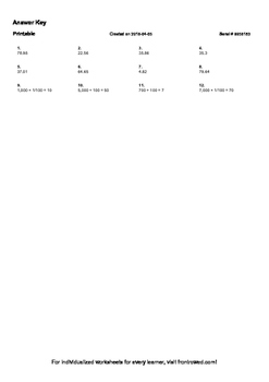 Worksheet for 5.NBT.7-3.3 - Multiply by 0.01