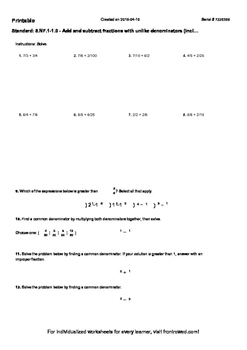 Worksheet for 5.NF.1-1.0 - Add and subtract fractions with unlike denominators (