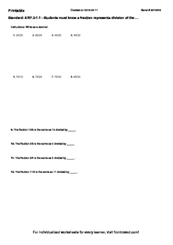 Worksheet for 5.NF.3-1.1 - Students must know a fraction represents division of