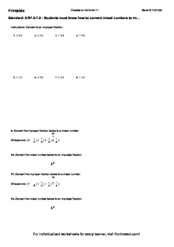 Worksheet for 5.NF.6-1.3 - Students must know how to convert mixed numbers to i