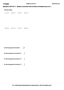 Worksheet for 5.NF.7A-1.1 - Student must know how to divide unit fractions by a