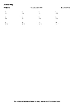 Worksheet for 5.NF.7A-1.2 - Students must be able to interpret division of a uni