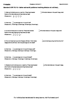 Worksheet for 5.NF.7C-1.0 - Solve real world problems involving division of unit