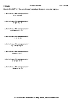 Worksheet for 5.OA.1-1.0 - Use parentheses, brackets, or braces in numerical exp