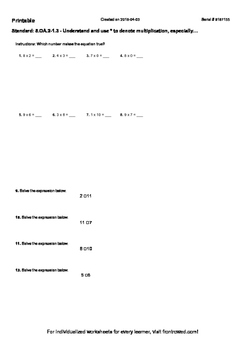 Worksheet for  5.OA.2-1.3 - Understand and use to denote multiplication, especia