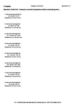 Worksheet for 5.OA.2-2.0 - Interpret numerical expressions