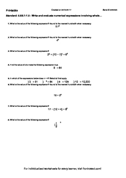 Worksheet for 6.EE.1-1.0 - Write and evaluate numerical expressions involving wh