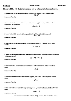 Worksheet for 6.EE.1-1.3 - Students must know how to write numerical expressions