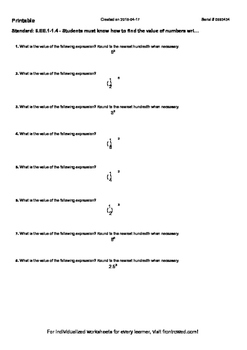 Worksheet for 6.EE.1-1.4 - Students must know how to find the value of numbers w