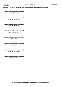 Worksheet for 6.EE.2A-1.1 - Students must know the order of operations used to e