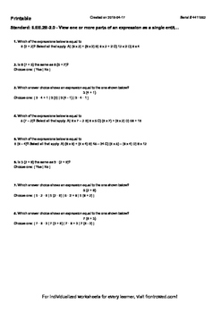 Worksheet for 6.EE.2B-2.0 - View one or more parts of an e