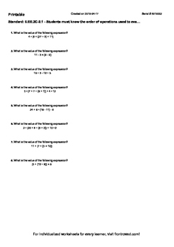 Worksheet for 6.EE.2C-2.1 - Students must know the order of operations used to e