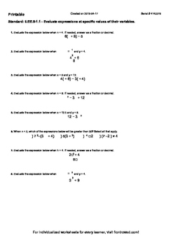 Worksheet for 6.EE.5-1.1 - Evaluate expressions at specific values of their vari