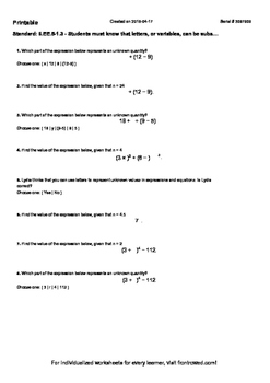 Worksheet for 6.EE.5-1.3 - Students must know that letters, or variables, can be