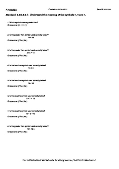 Worksheet for 6.EE.5-2.1 - Understand the meaning of the symbols