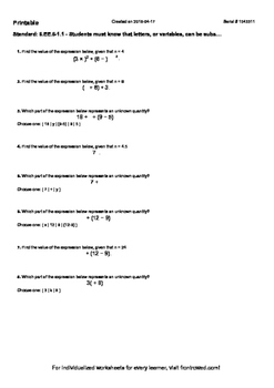 Worksheet for 6.EE.6-1.1 - Students must know that letters, or variables, can be