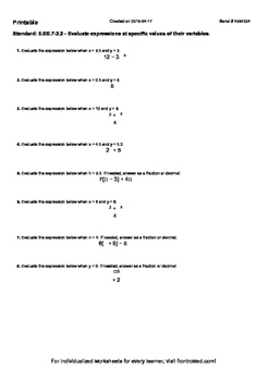 Worksheet for 6.EE.7-2.2 - Evaluate expressions at specific values of their vari
