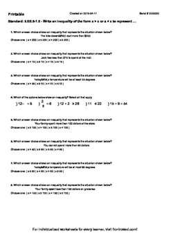 Worksheet for 6.EE.8-1.0 - Write an inequality of the form x  c or x  c to repre