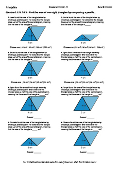 Worksheet for 6.G.1-2.3 - Find the area of non-right triangles by composing a pa