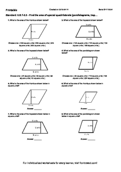 Worksheet for 6.G.1-3.3 - Find the area of special quadrilaterals (parallelogram
