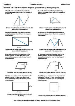 Worksheet for 6.G.1-4.0 - Find the area of special quadrilaterals by decomposing