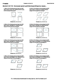 Worksheet for 6.G.1-4.2 - Decompose special quadrilaterals (parallelograms, trap