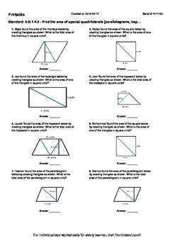 Worksheet for 6.G.1-4.3 - Find the area of special quadrilaterals (parallelogram
