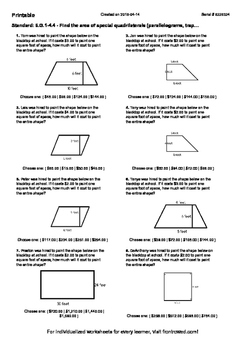 Worksheet for 6.G.1-4.4 - Find the area of special quadrilaterals (parallelogram