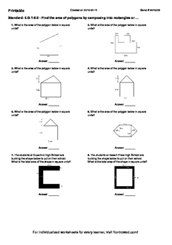 Worksheet for 6.G.1-5.0 - Find the area of polygons by composing into rectangles