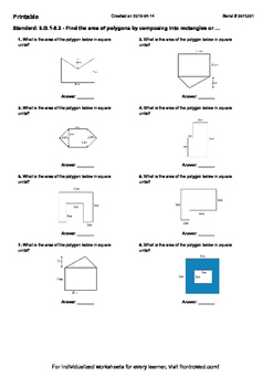 Worksheet for 6.G.1-5.3 - Find the area of polygons by composing into rectangles